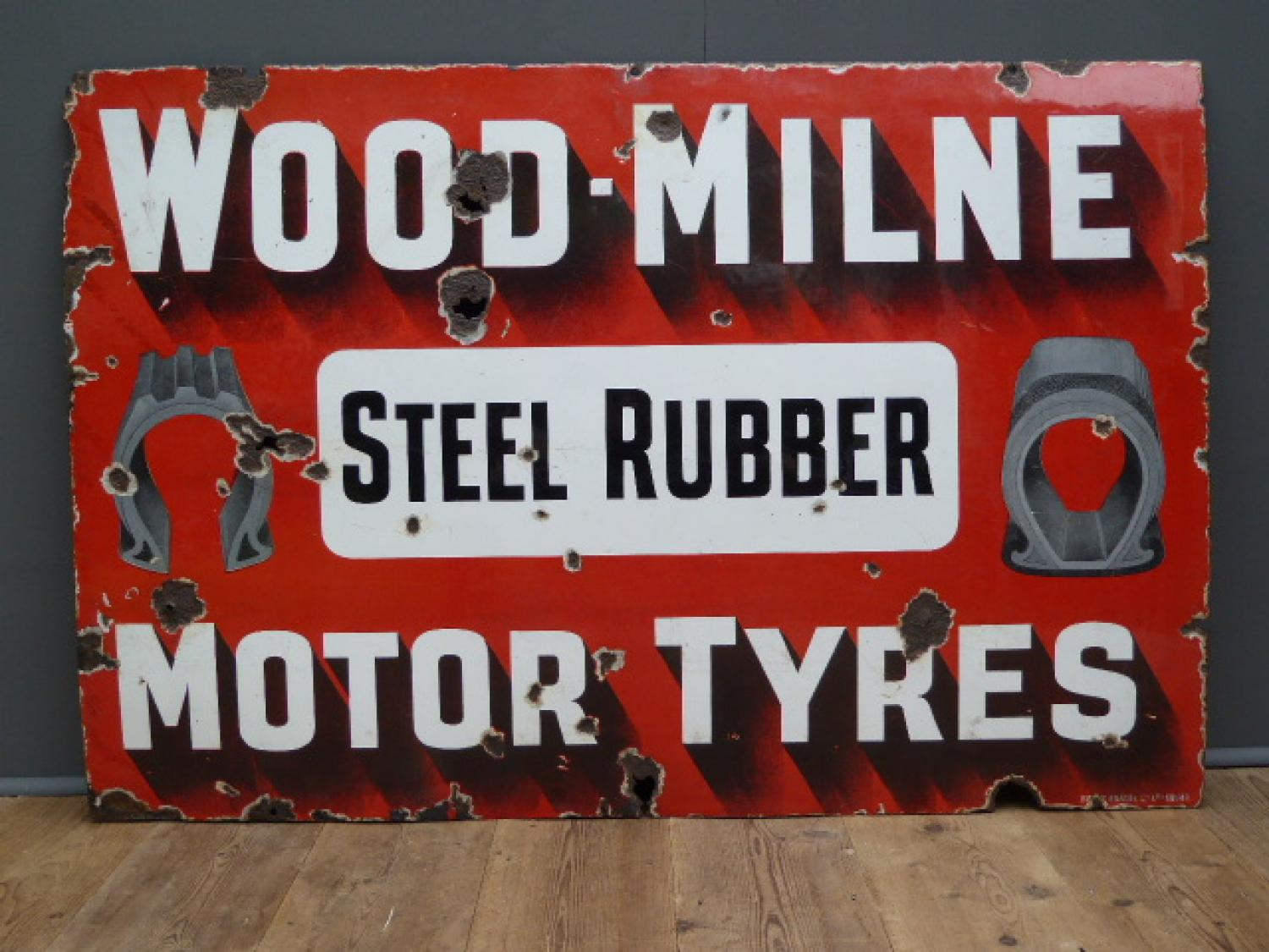 Wood Milne Motor Tyres Enamel Sign
