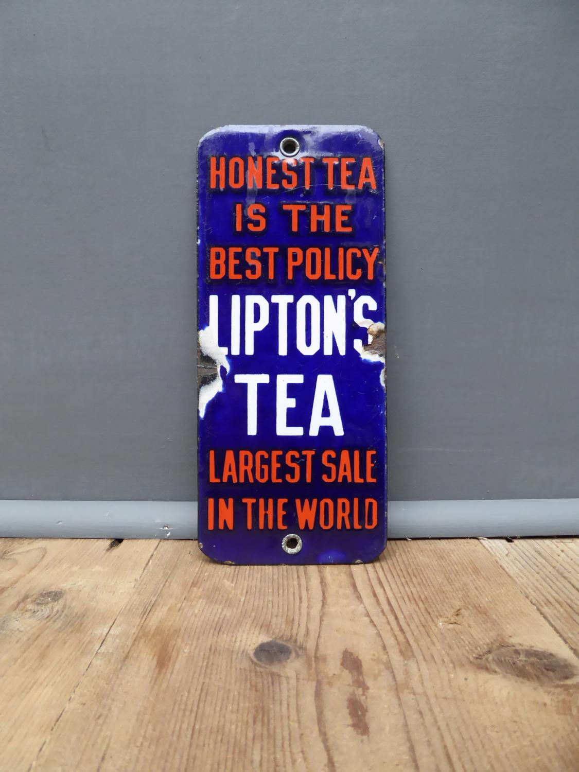 Lipton's Tea Enamel Fingerplate Sign