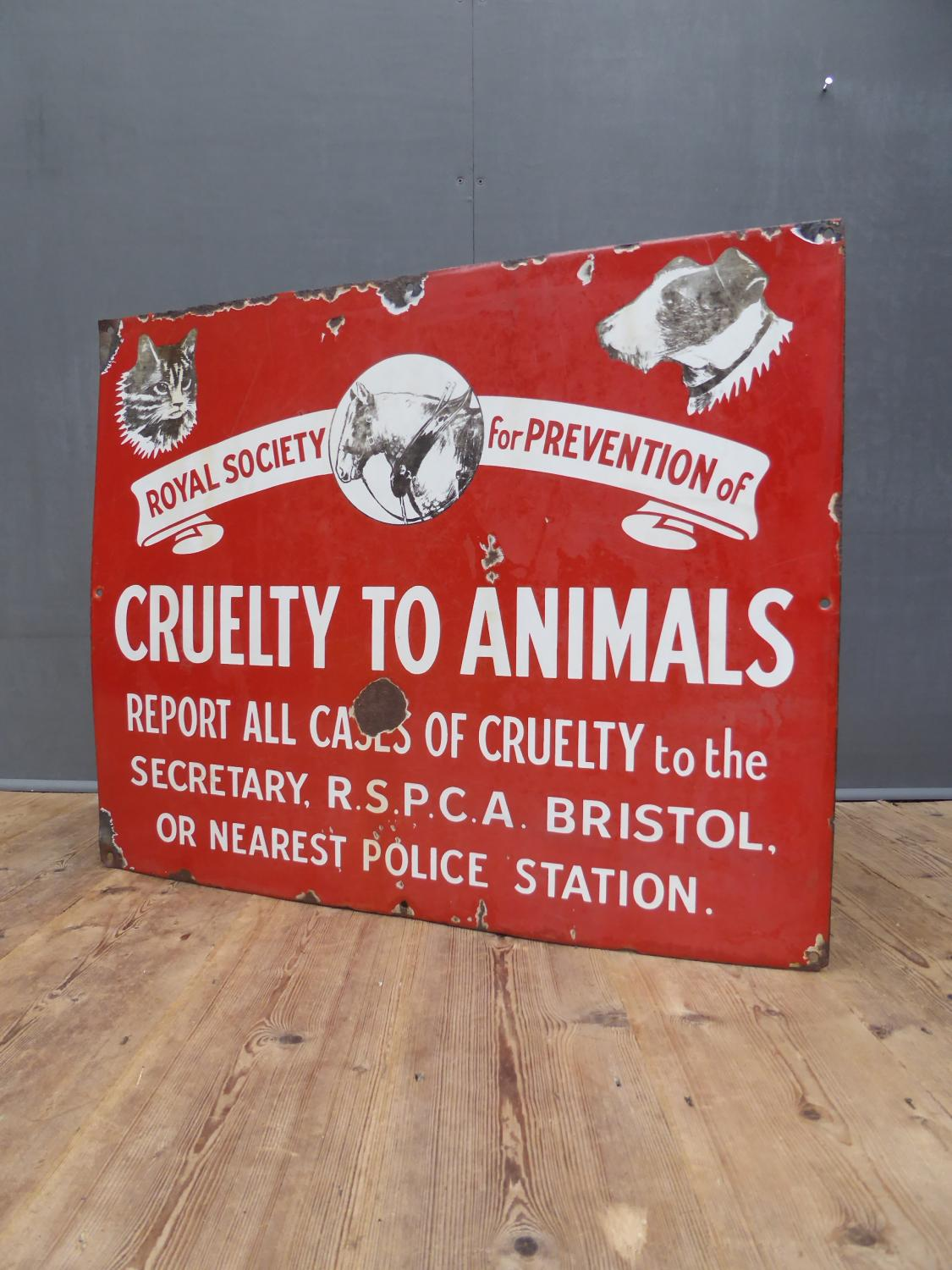 RSPCA Pictorial Enamel Sign