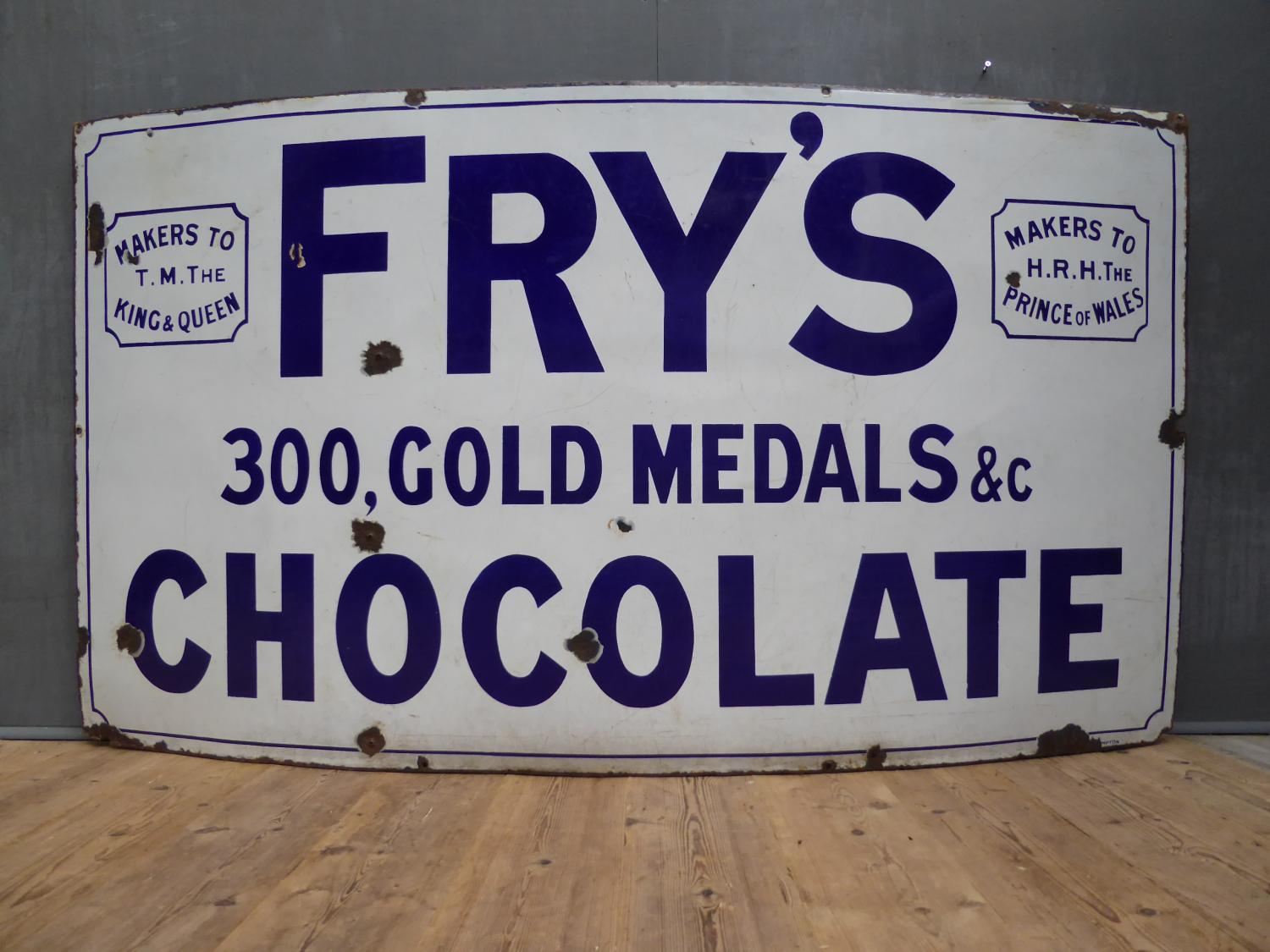 Large Frys Chocolate Enamel Sign