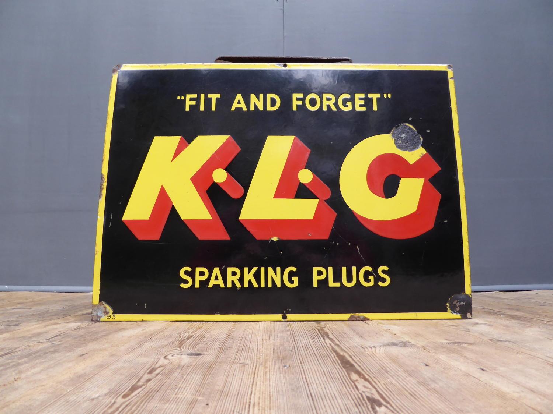 KLG Sparking Plugs Enamel Sign