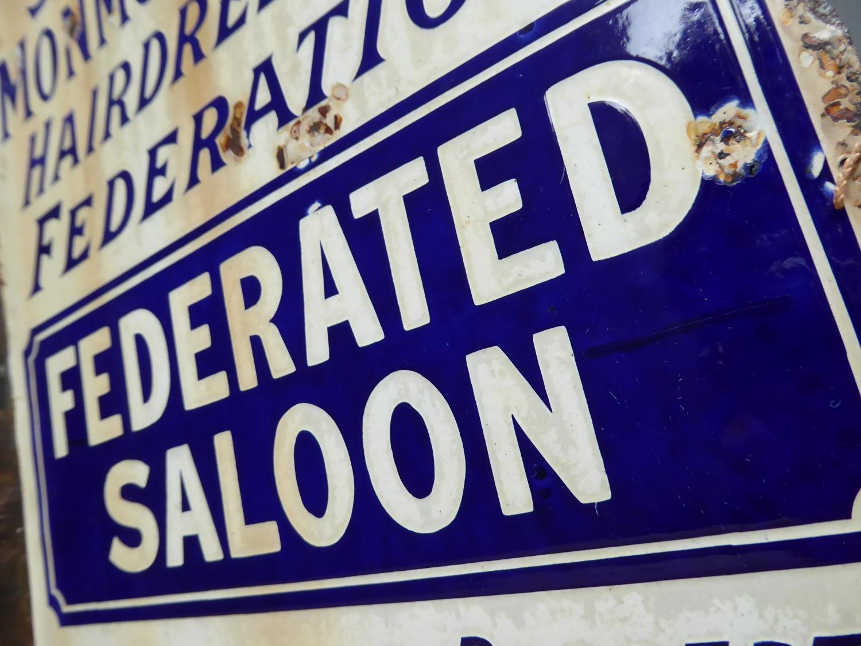 Victorian 'Hair Saloon' Enamel Sign