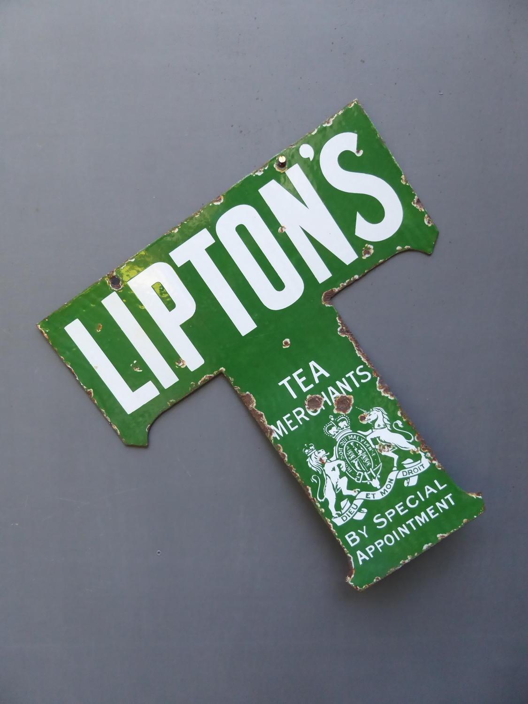 Liptons 'T' Enamel Sign