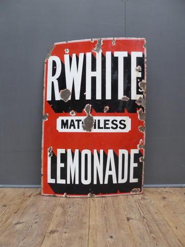 R Whites 'Matchless' Lemonade Enamel Sign
