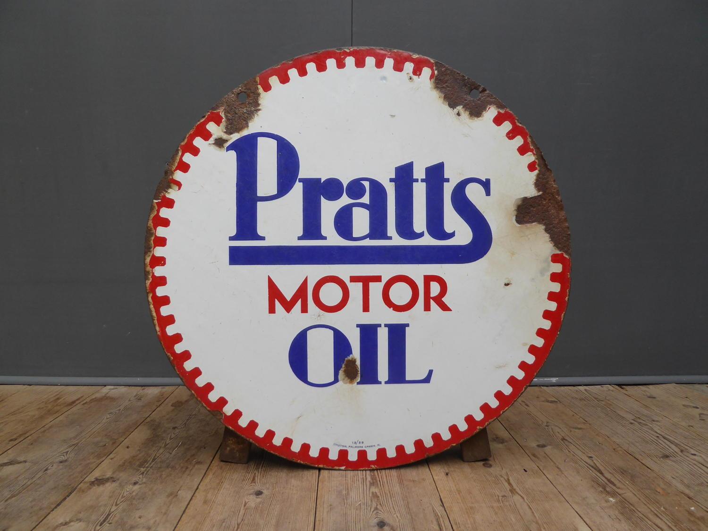 Pratts Motor Oil Enamel Sign