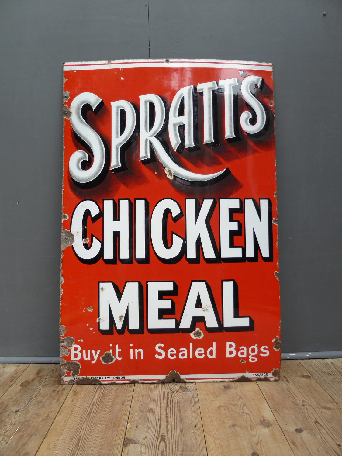 Spratts Chicken Meal Enamel Sign