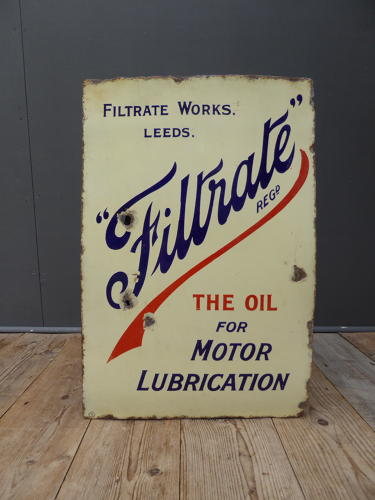 Filtrate Motor Oil Enamel Sign