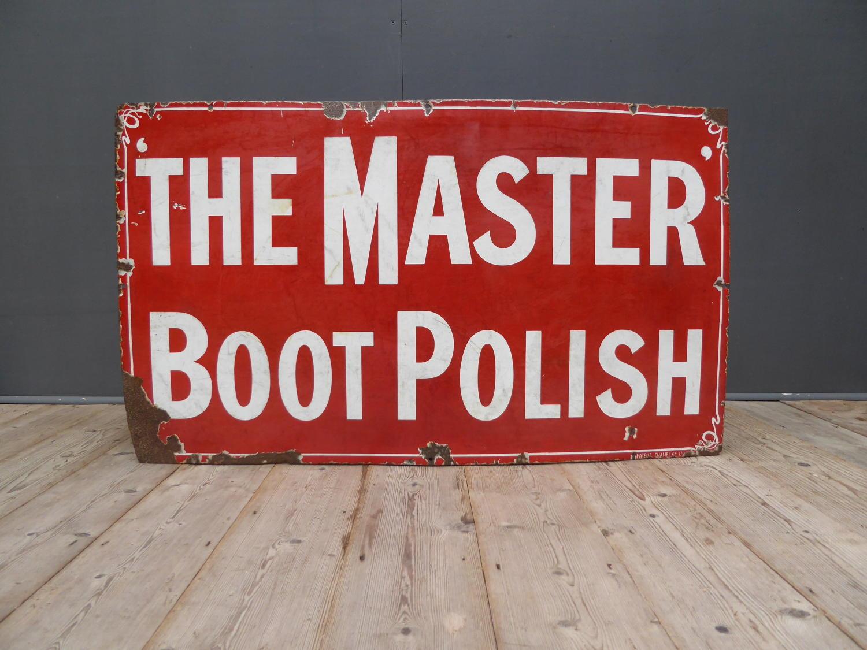 'The Master' Boot Polish Enamel Sign