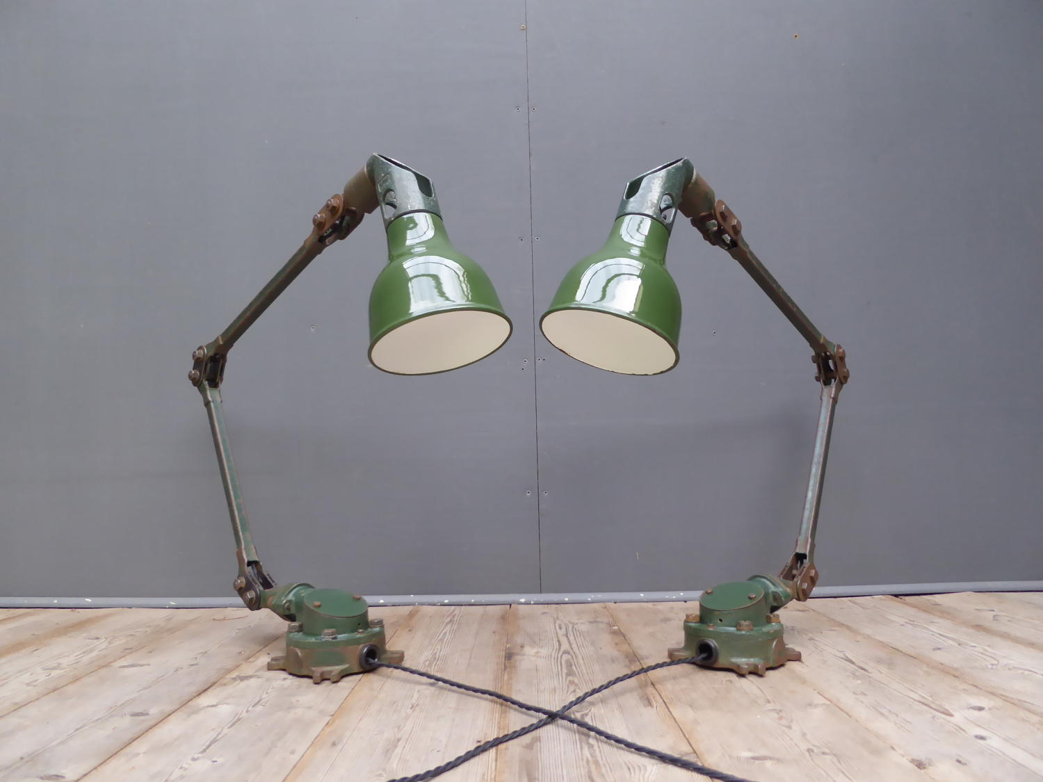 Pair Of Mek Elek Machinist Lamps