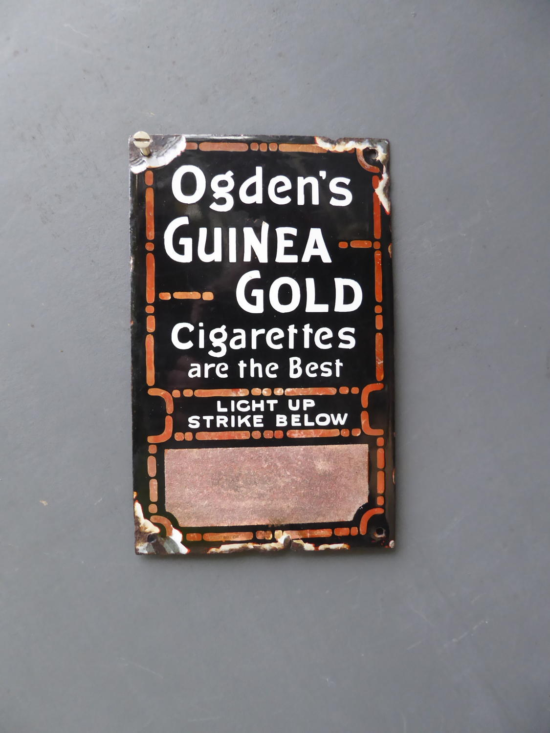 Ogdens Vesta Strike Enamel Sign ~ Guinea Gold
