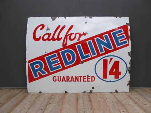 Redline Enamel Sign