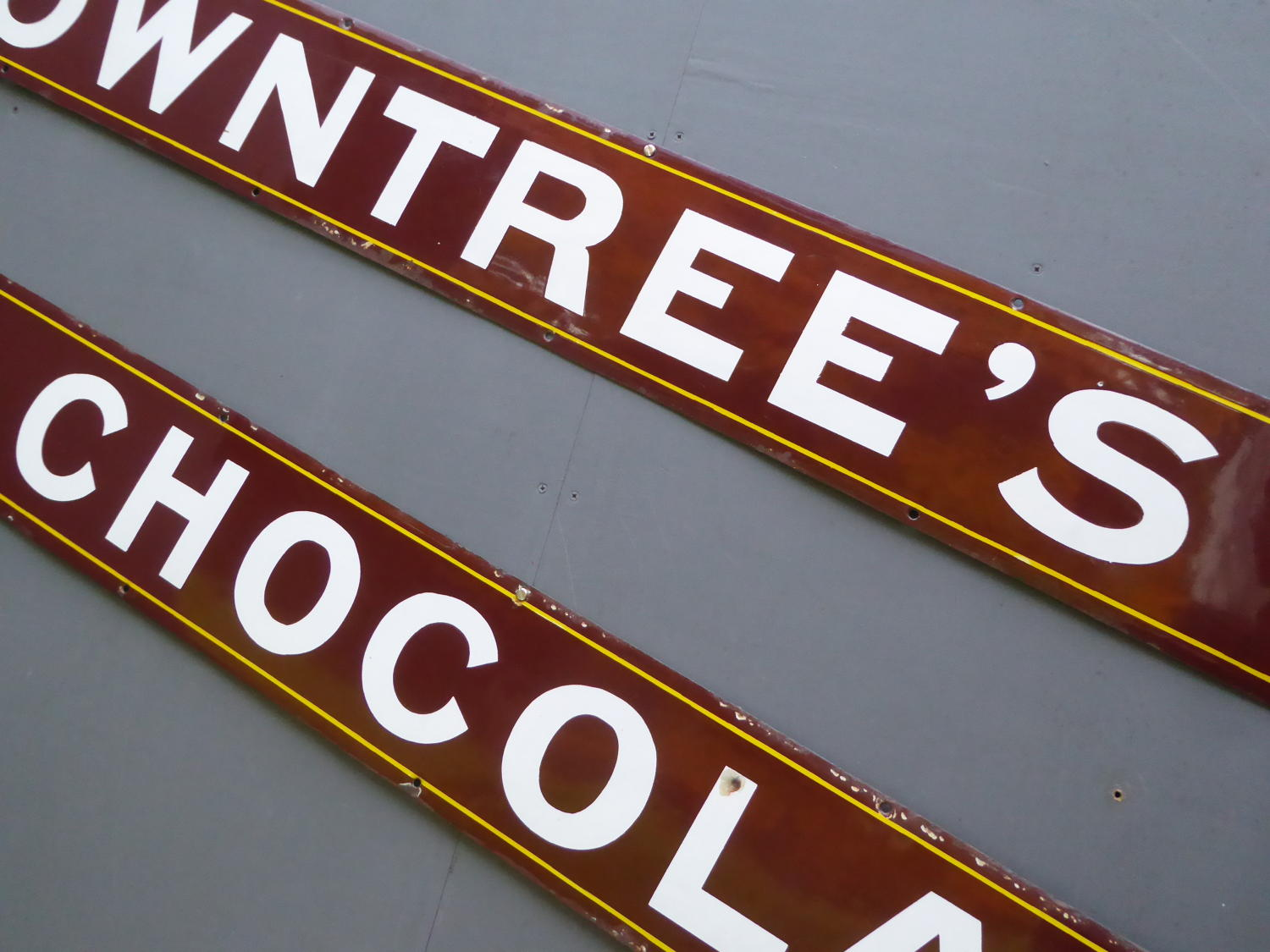 Rowntrees Chocolates Two Piece Enamel Sign