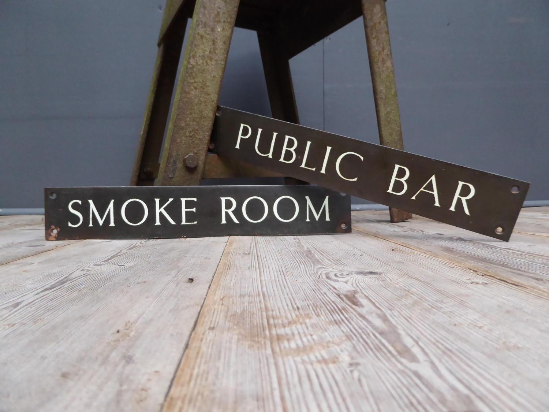 'Smoke Room' Sign ~ Bronze & Enamel