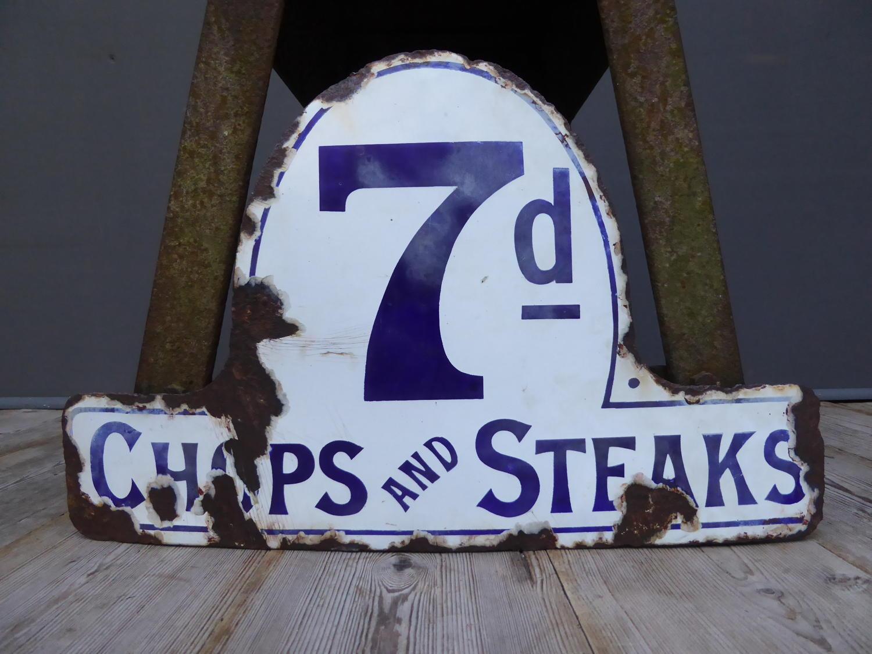 Butchers 'Chops & Steaks' Enamel Sign