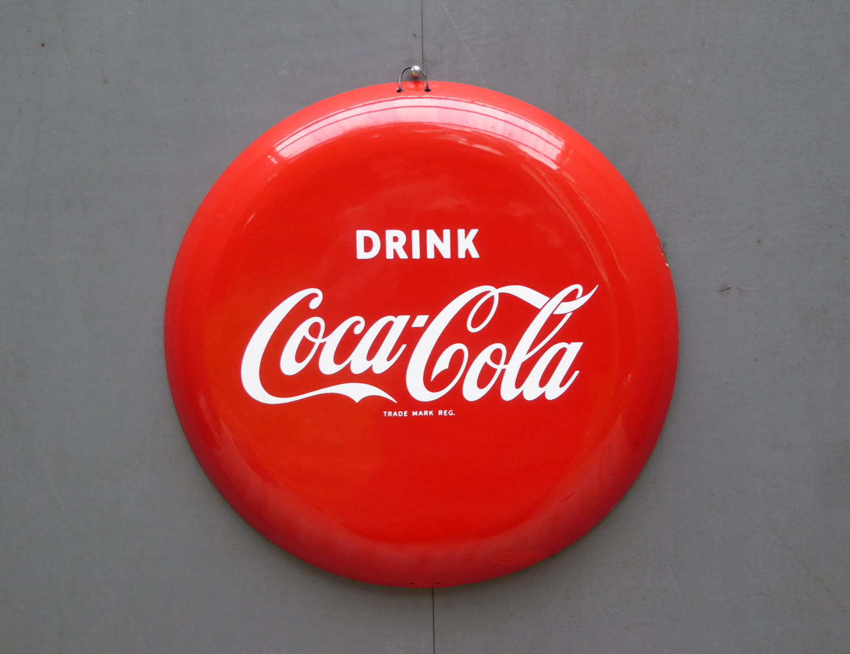 Coca Cola Enamel Button Sign