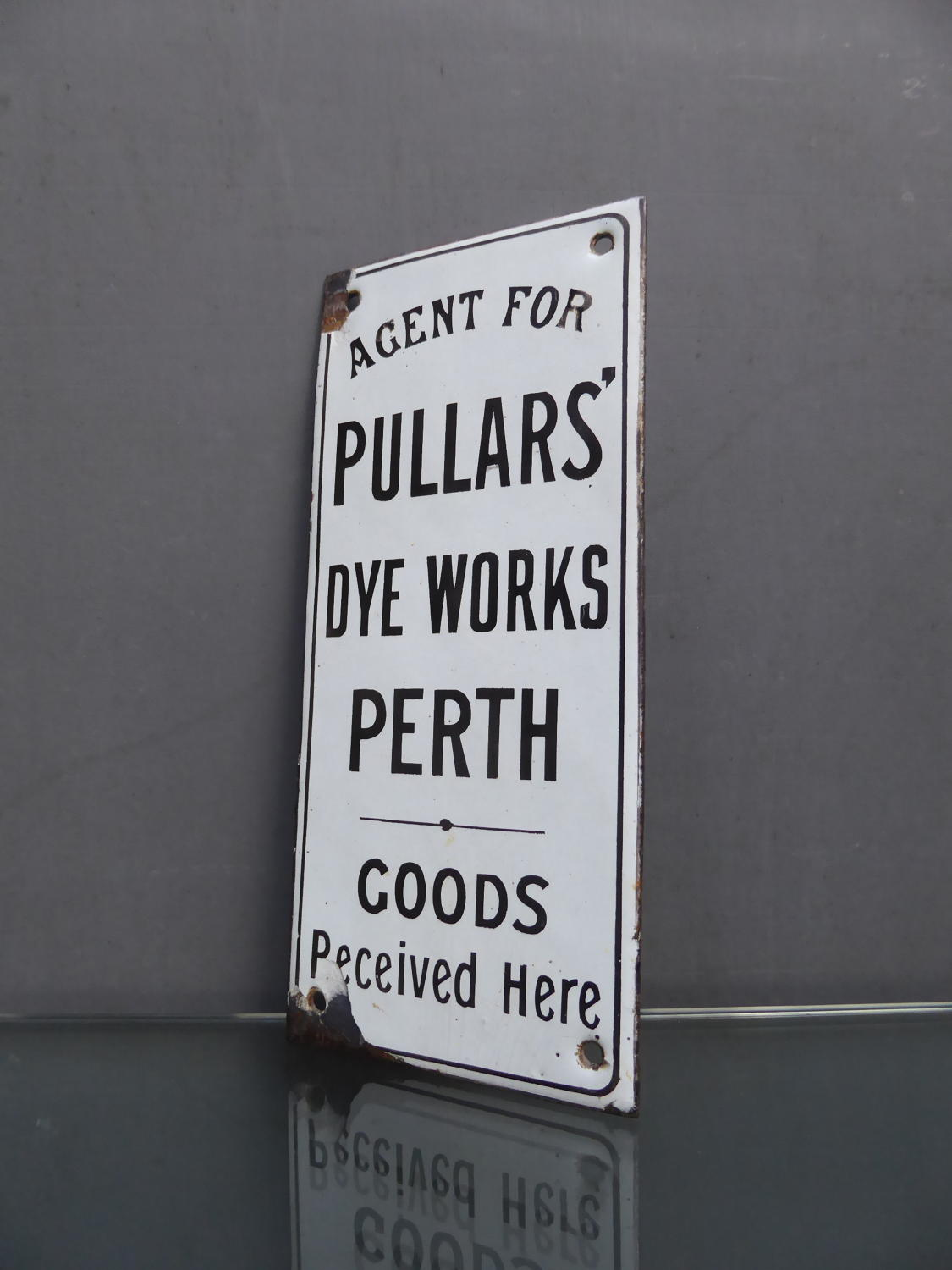 Enamel Fingerplate Sign ~ Pullers Dye Works