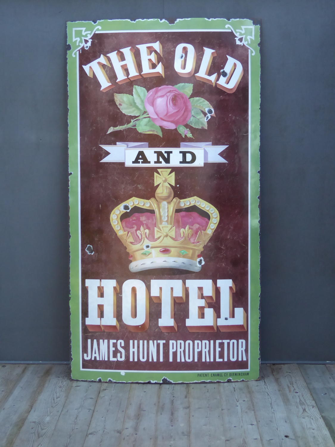 Huge Rose & Crown Pictorial Enamel Sign