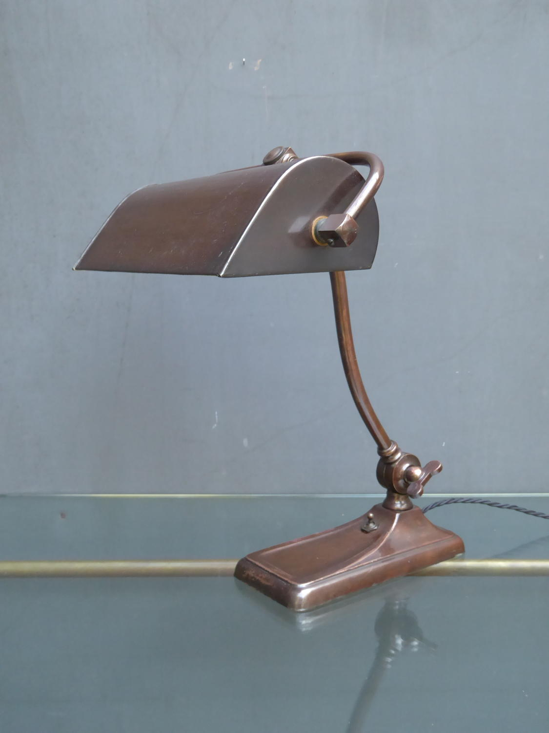 Copper Bankers Lamp