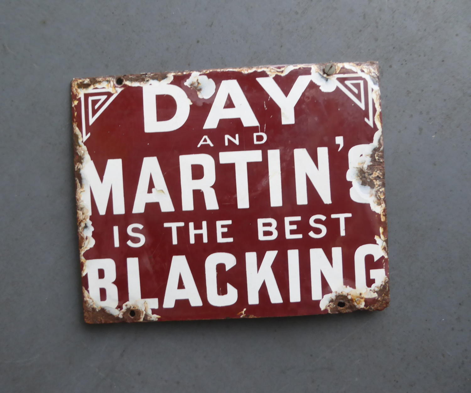 Day & Martins 'Blacking' Boot Polish Enamel Sign