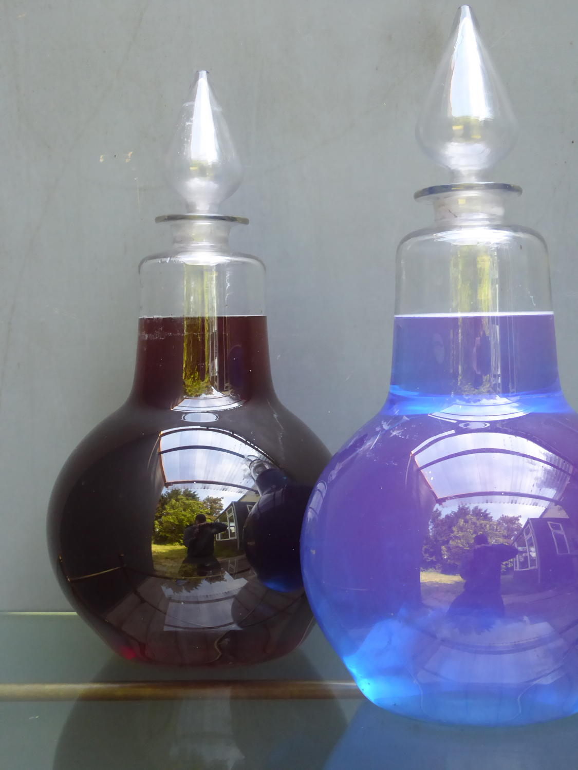 Victorian Glass Chemist Carboys ~ Pair