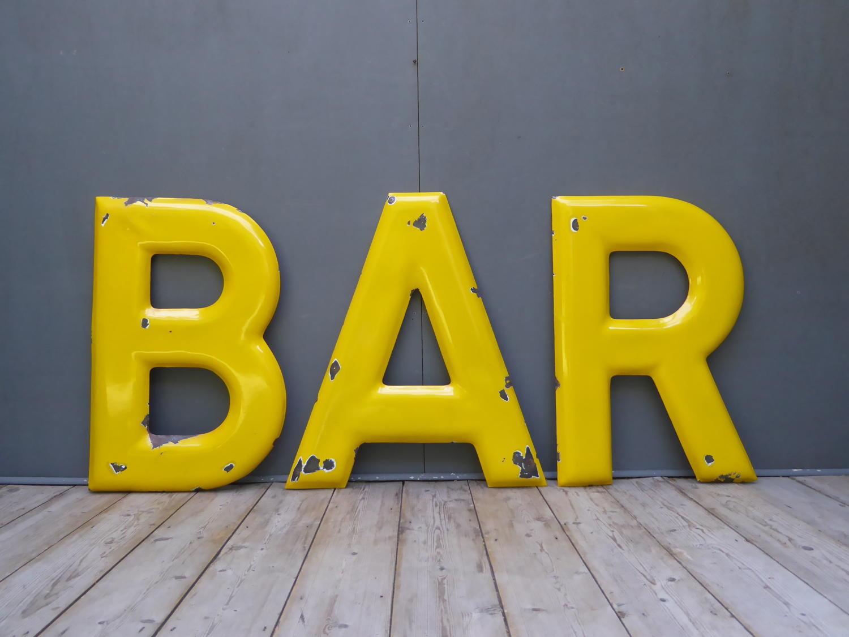 Large Enamel 'BAR' Sign