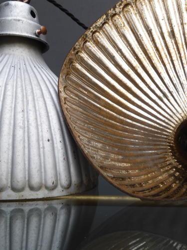 Pair Of Mercury Glass Shop Window Lights