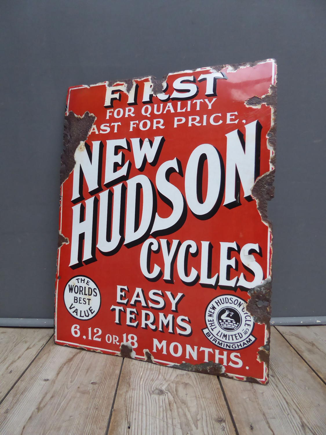 New Hudson Cycles Enamel Sign