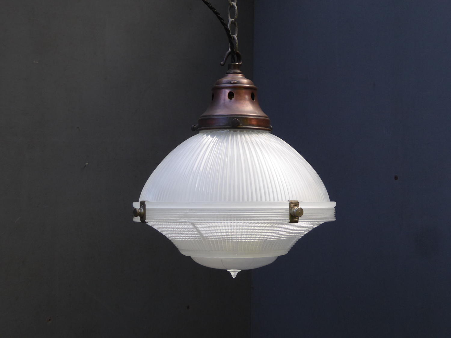 Single Three Part Holophane Pendant Light