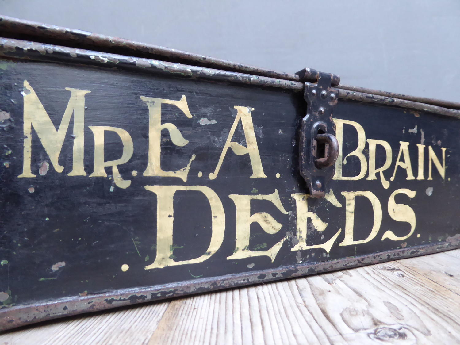 Painted Metal Deed Box ~ Mr Brain