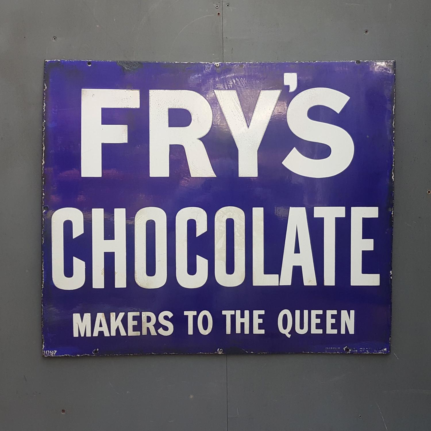 Frys Chocolate Enamel Sign