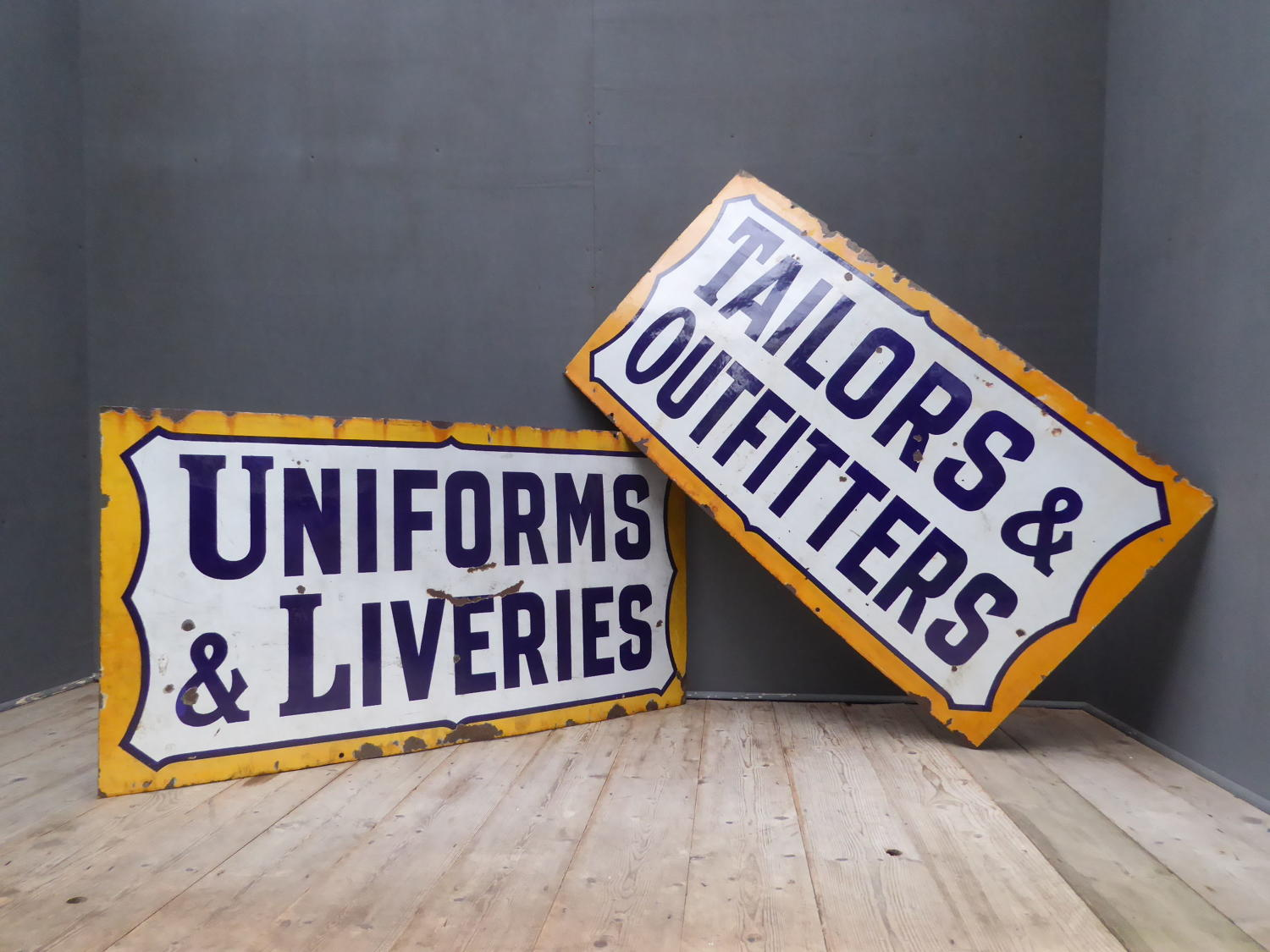 Pair Of Tailors Enamel Signs