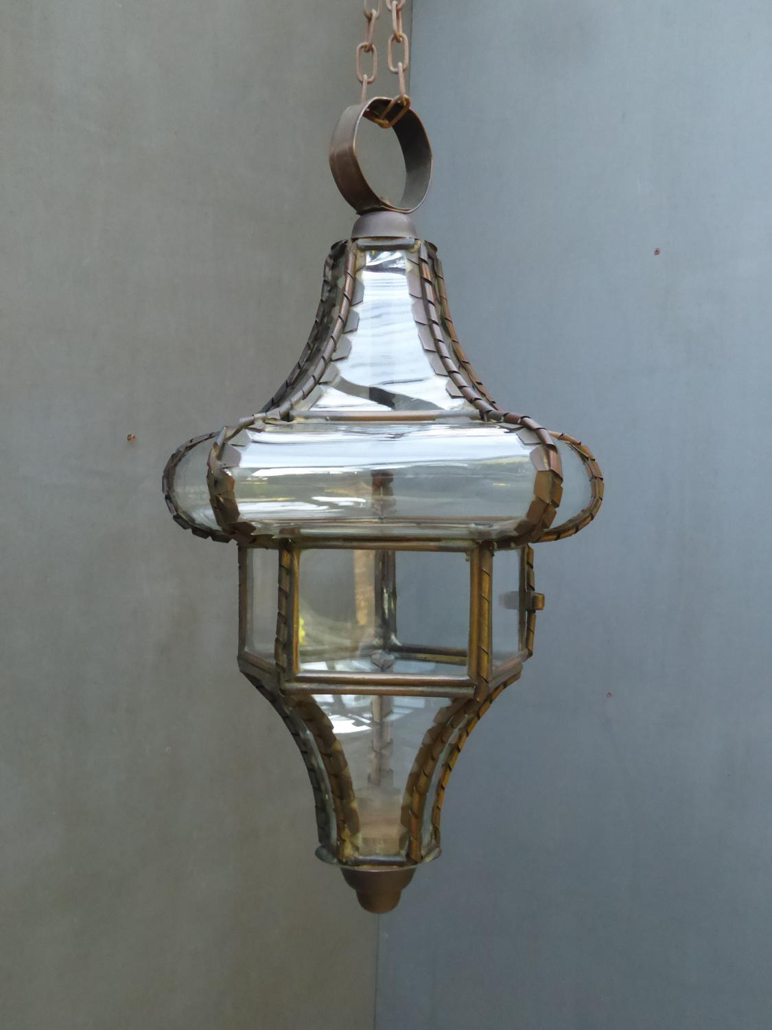 Bowed Glass Copper Hall Lantern