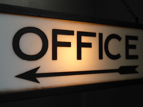 Etched Milk Glass Illuminated 'Office' Sign