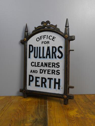 Framed Pullers Dye Works Enamel Sign