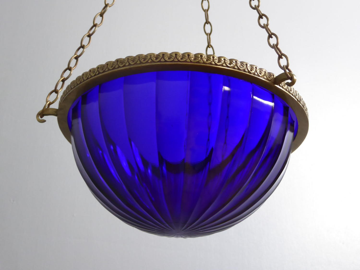 Cobalt Blue Glass Plafonnier