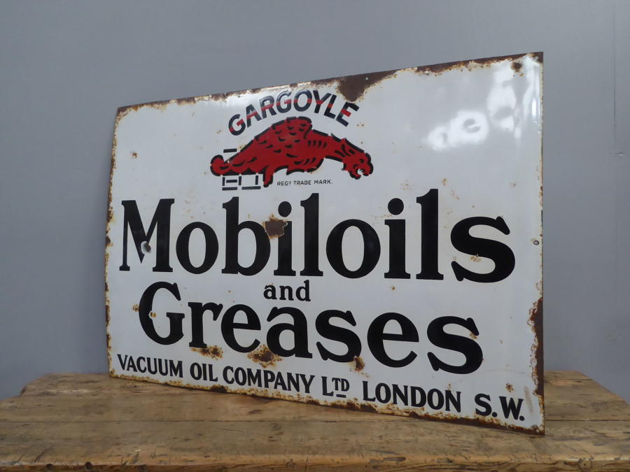 Early Mobiloil Enamel Sign