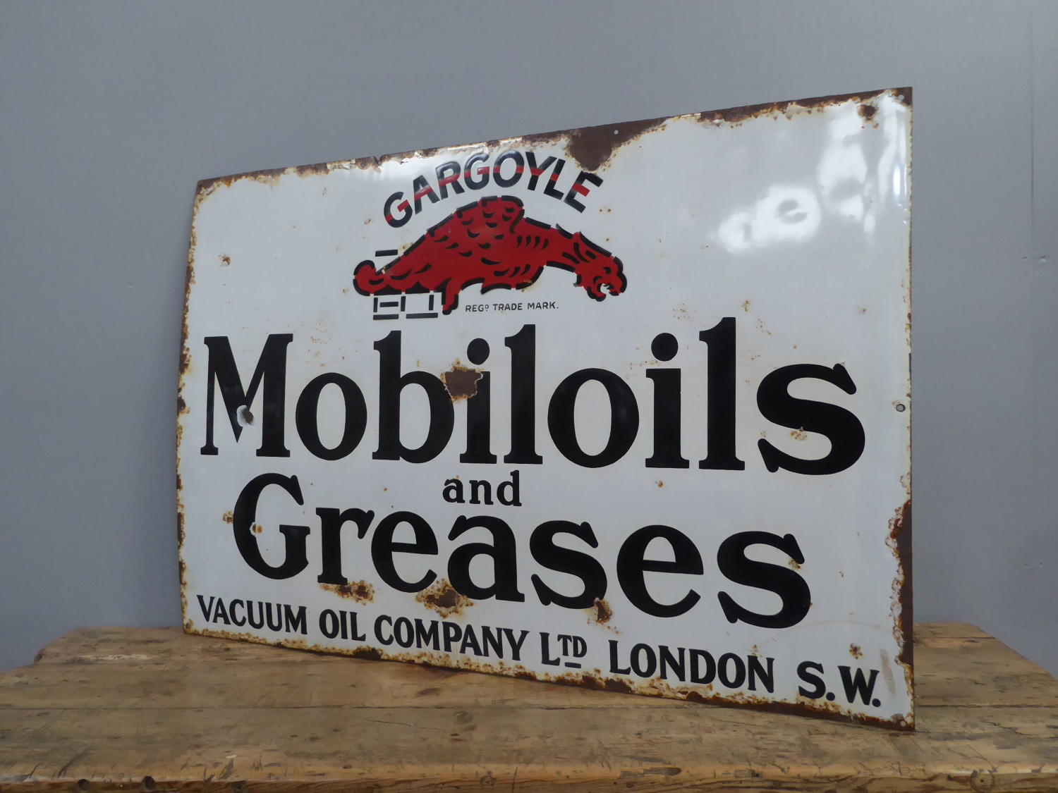 Early Mobiloil Enamel Sign