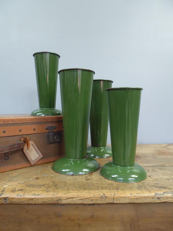 Green Enamel Florist Vases