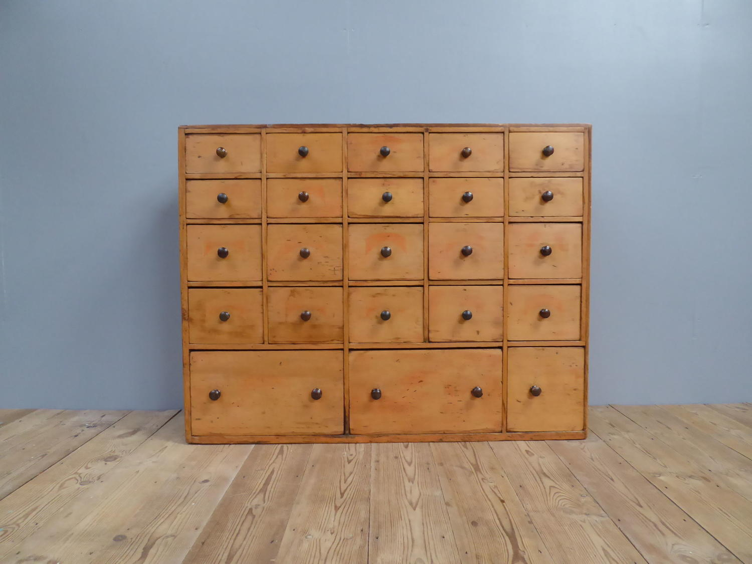 Large Bank Of Victorian Pine Seed Drawers