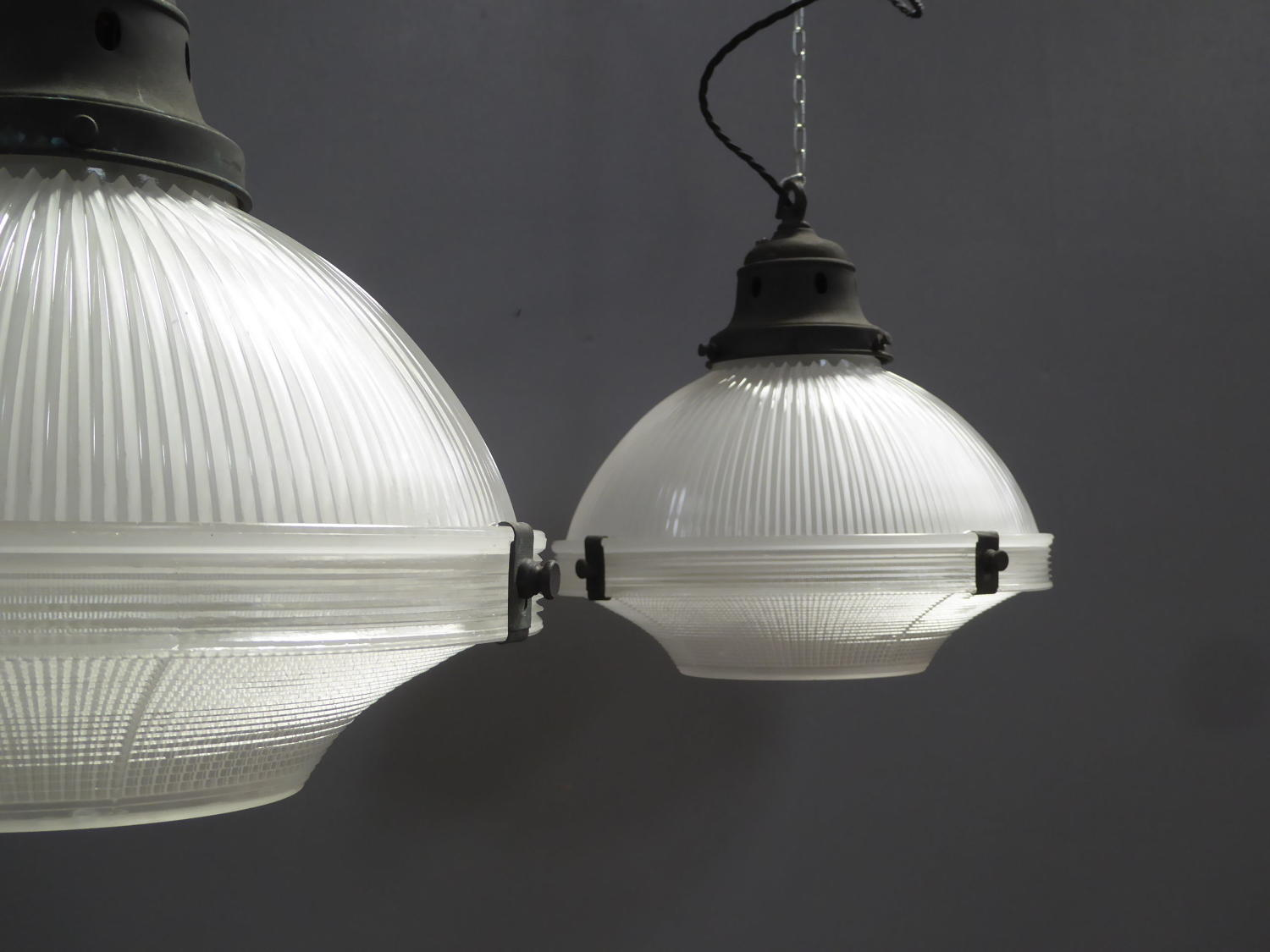 Two Part Holophane Pendant Lights