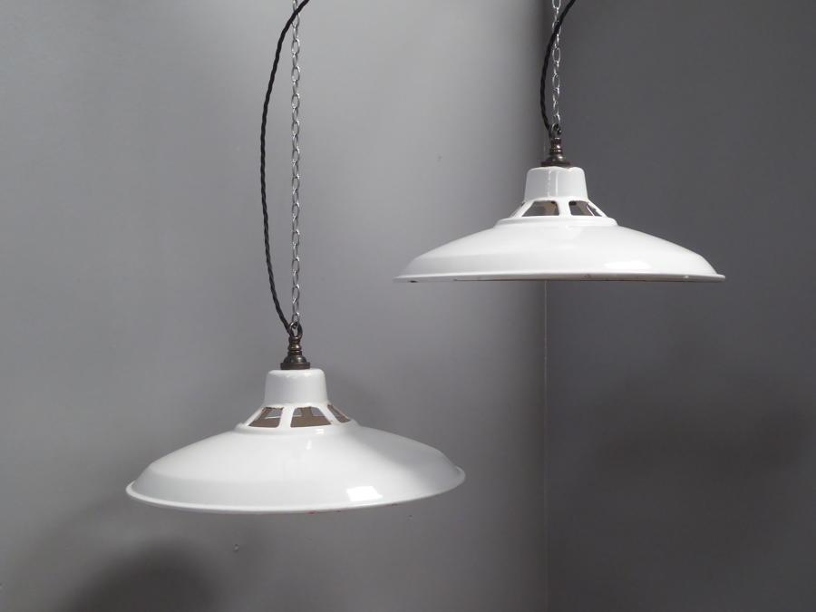White Enamel Pendant lights