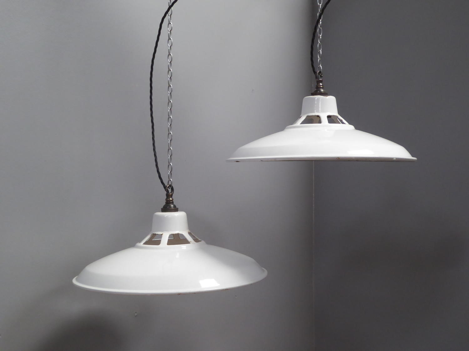 White Enamel Pendant lights
