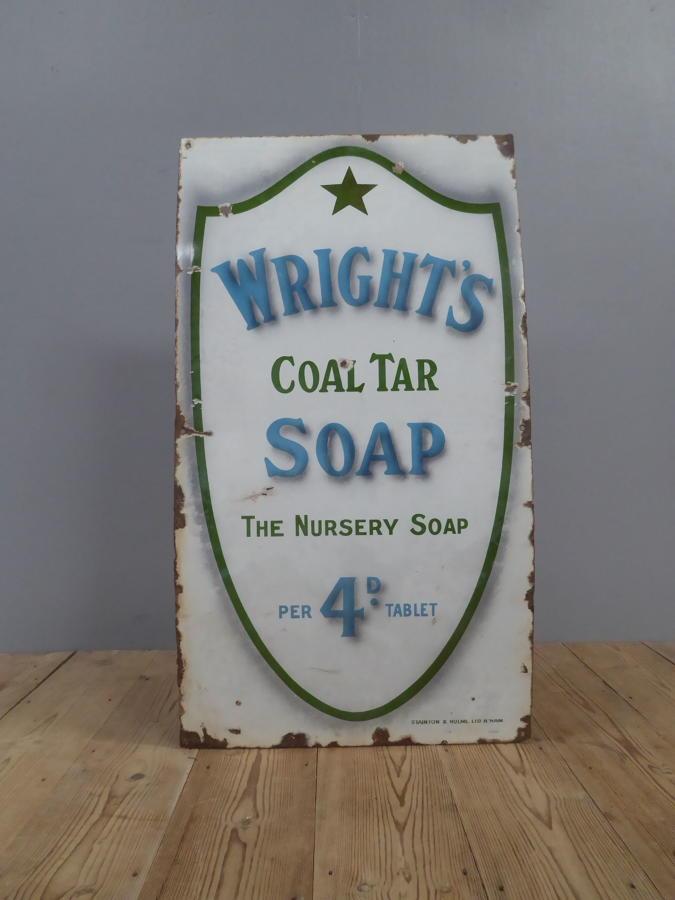Wright's Coal Tar Soap Enamel Sign c1900