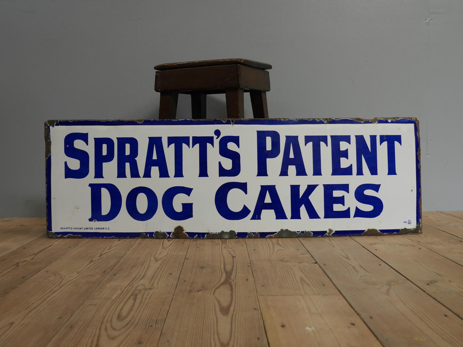 Spratts Patent Dog Cakes Enamel Sign