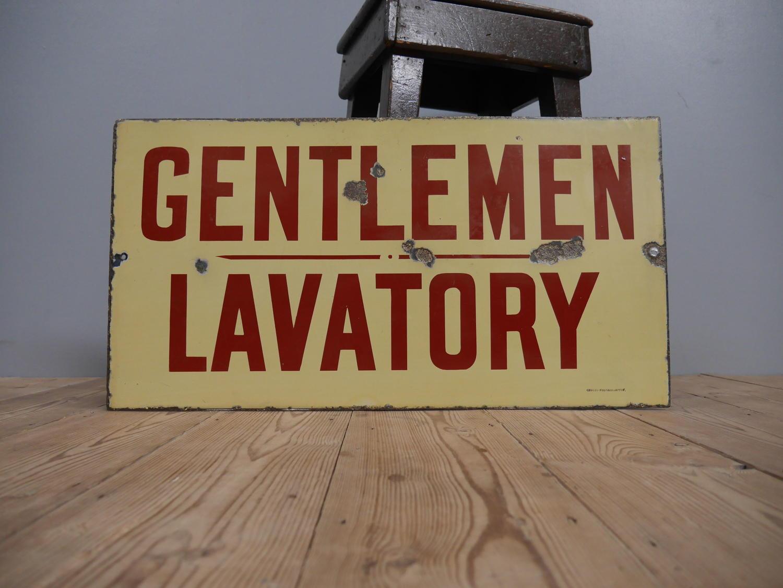 NER Gentlemen / Lavatory Enamel Railway Sign c1900