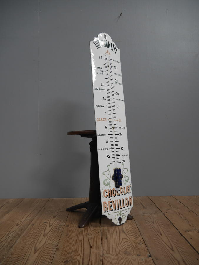 Large Chocolat Revillon Enamel Advertising Thermometer Sign