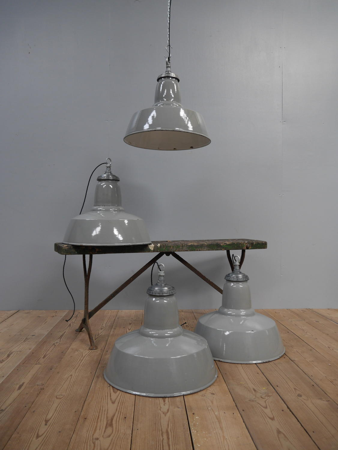 Large Grey Enamel Pendant Lights