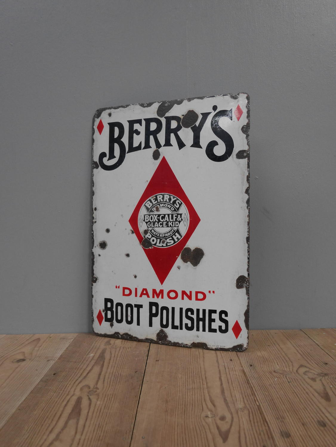 Berry's Boot Polish Enamel Sign