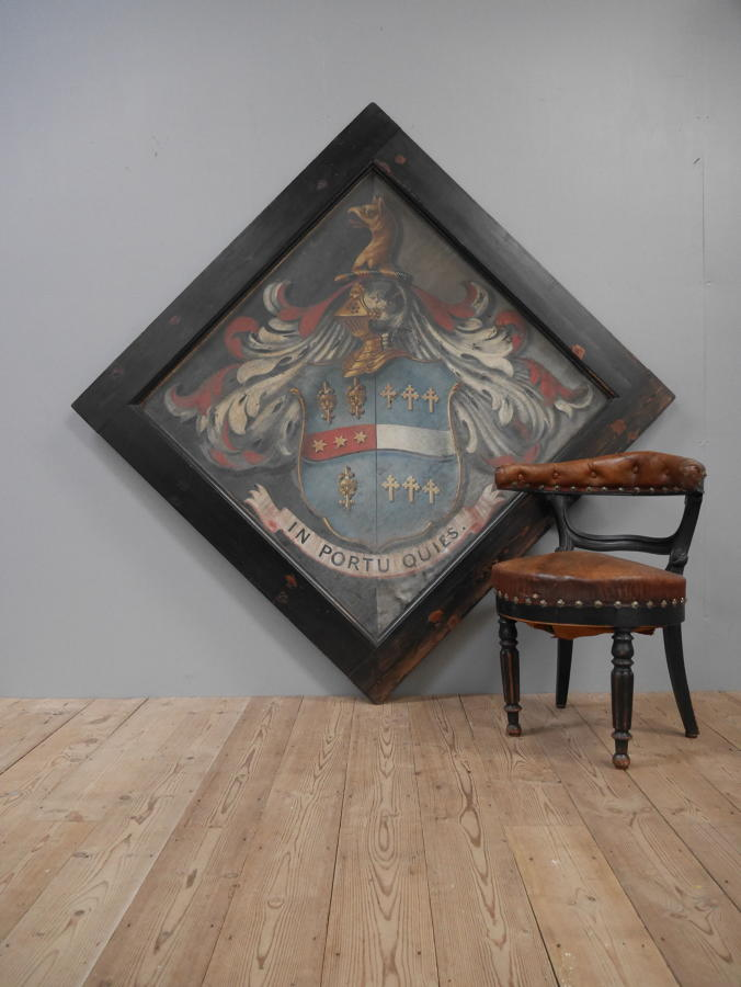 Huge 19th Century Oil On Canvass Hatchment
