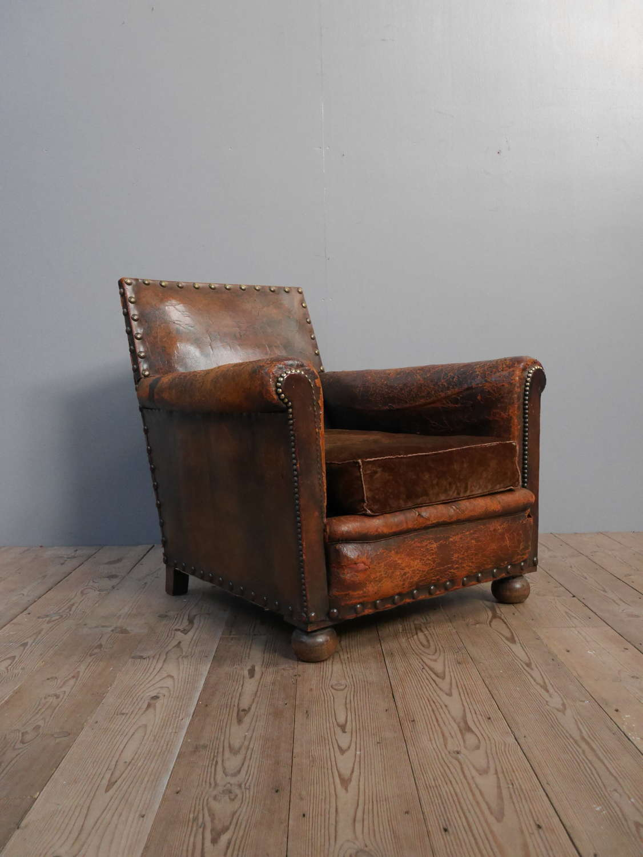 Deep Leather Club Chair c1900